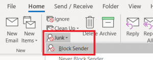 Image of Junk folder option on Outlook