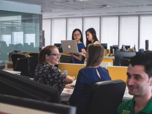 People in an office working