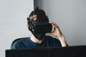A person wearing VR headset